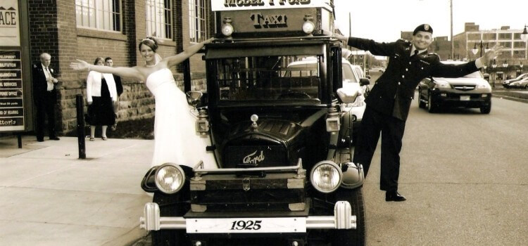 image of Model-T-on-a-wedding-run
