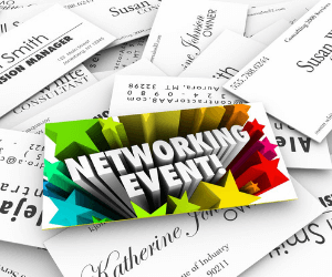 networking event image with business cards