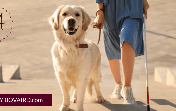 blind woman with cane and guide dog walking up stairs