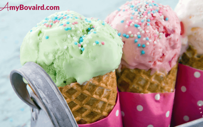 picture of 3 delicious ice cream cones - mint, strawberry, vanilla with sprinkles