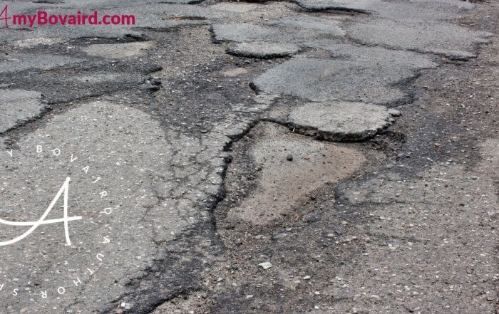 uneven crumbling pavement difficult walking