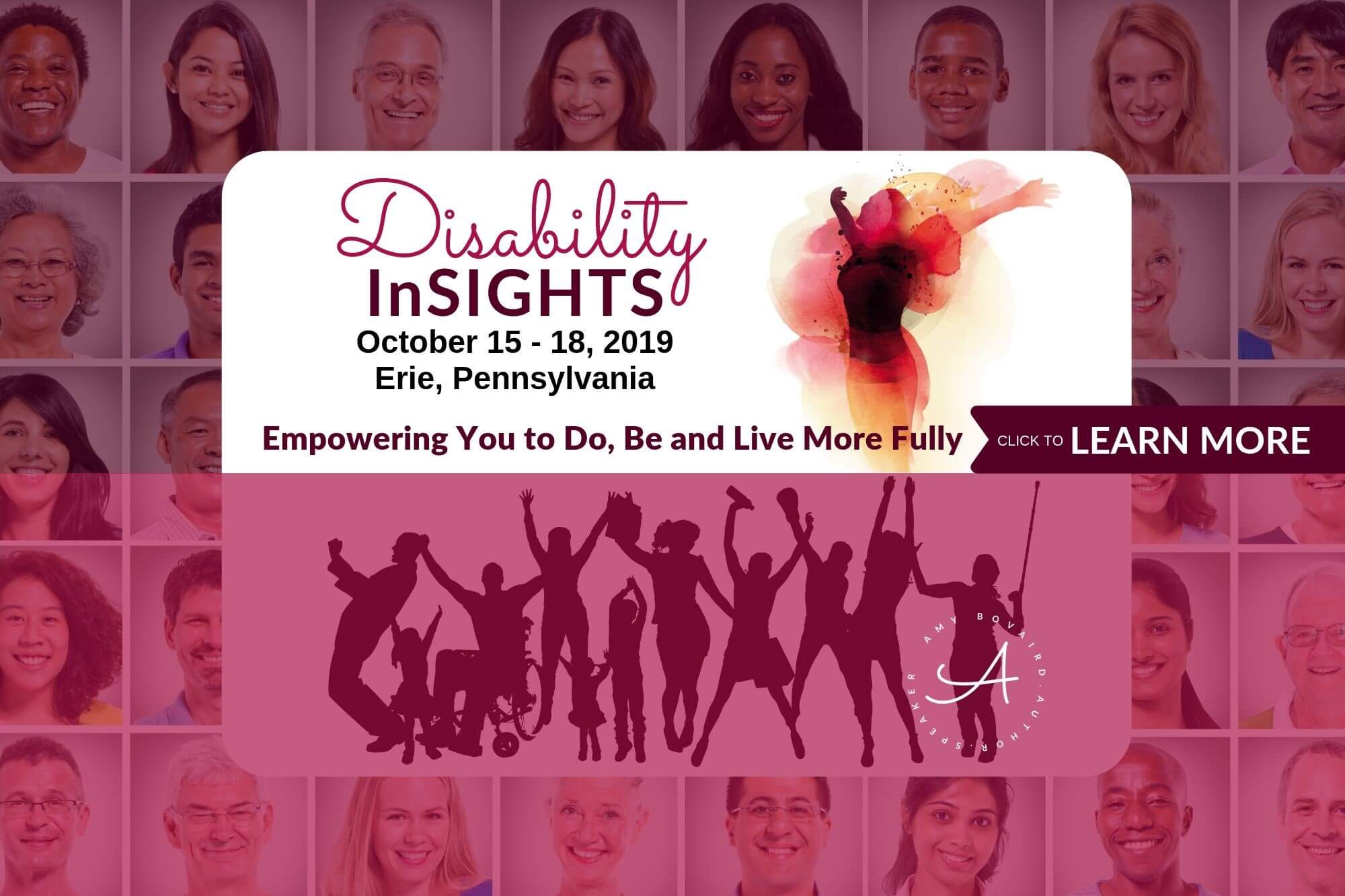 Disability InSIGHTS seminar image showing diverse people background with diverse people some with disabilities celebrating