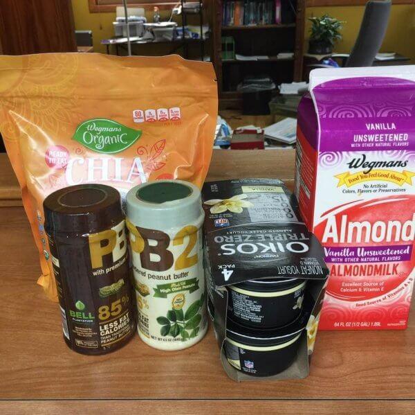 picture of Wegmans Almond milk, powdered peanut butter, chia seeds and yogurt