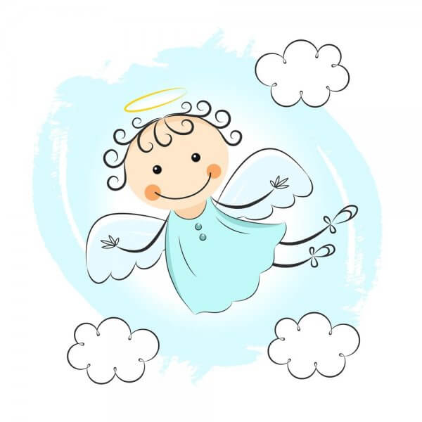 cute flying little angel girl with halo