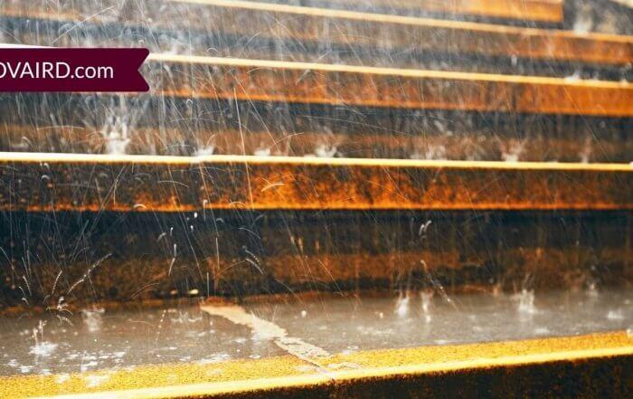 closeup image of heavy rain on outdoor steps