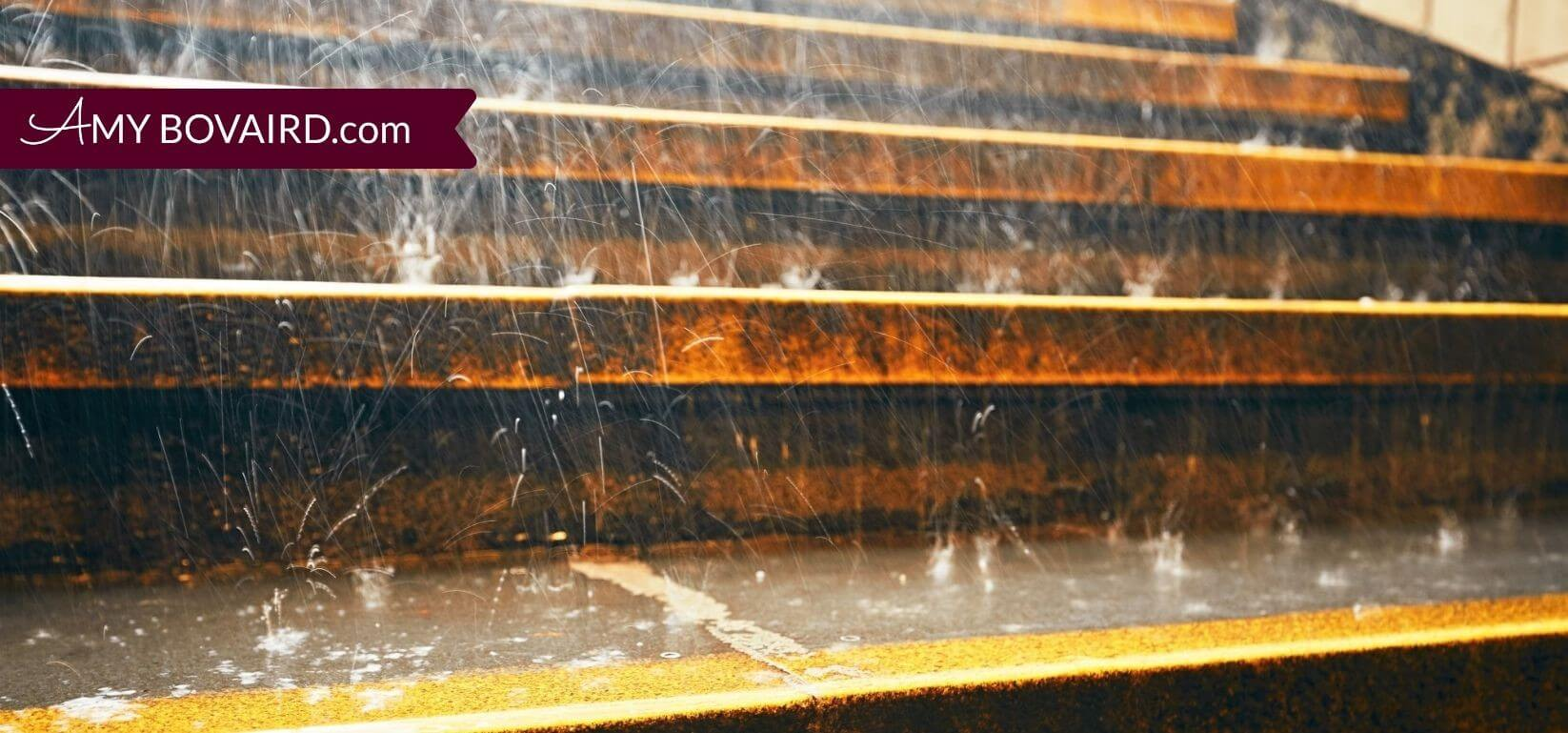 closeup image of heavy rain on outdoor steps
