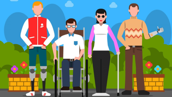 different disabilities represented in an colorful illustration