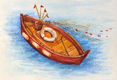 a-lovely-watercolor-fishing-boat-with-cast-net-on-beautiful-waters