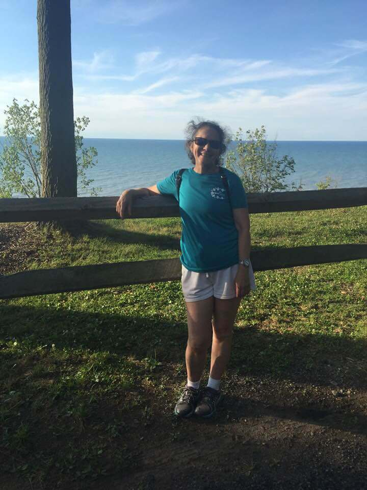 Amy Bovaird at the end of a virtual American Disabilities Act 5k