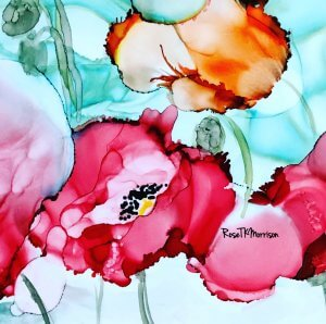 """Alcohol Ink titled """"Soul Deep Poppies"""" by Rose Kamma Morrison"""