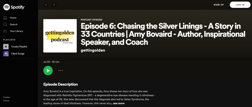social change podcast landing page view