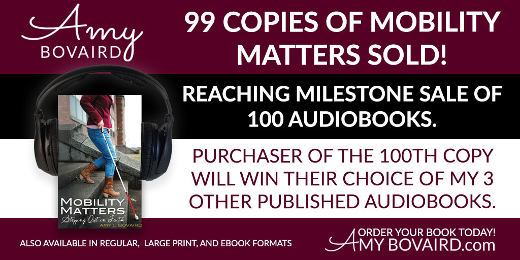Mobility Matters audio book shown with headphones around the book with promotional text