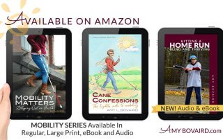 three of Amy Bovaird's books on tablets
