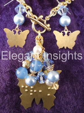 braille jewelry with butterflies
